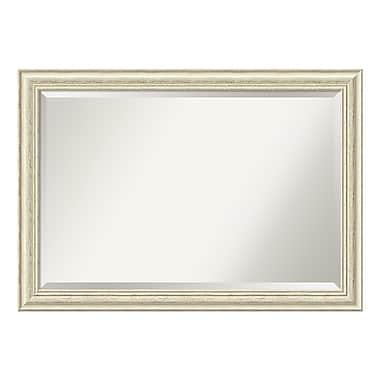 Amanti Art ? Très grand miroir de salle de bain, armoire standard de 30 à 48 po, blanc délavé rustique