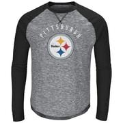 Majestic – T-shirt à manches longues raglan Corner Blitz des Steelers de Pittsburgh, moyen