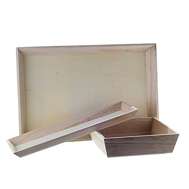 Creative Bag Disposable Wood Serving Tray, 15.88