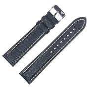 Dakota 22mm Black Croc Grain, Genuine Leather, Padded Strap (54121)