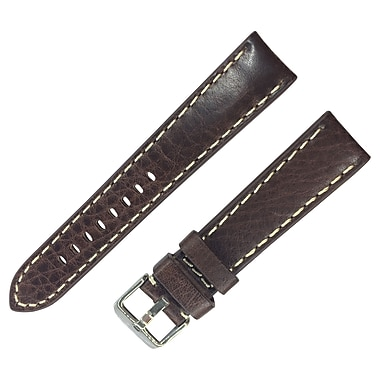 Dakota 20mm Brown Brown Thick Pad Oil Tanned Shrunken Leather Strap (11864)