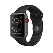 Apple Watch Series 3, 38mm, GPS + Cellular, Space Grey Aluminum Case with Black Sport Band, (MQJP2CL/A)