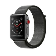 Apple – Montre Apple Watch Series 3, GPS + cellular, boîter alum. gris cosmique, bracelet sport à rabat vert