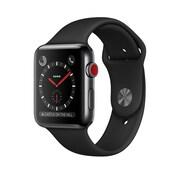 Apple – Montre Apple Watch Series 3, GPS + cellular, acier inox noir cosmique avec bracelet sport noir