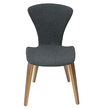 Cathay Importers Linen Side Chair with Walnut Veneer Legs, Charcoal Black