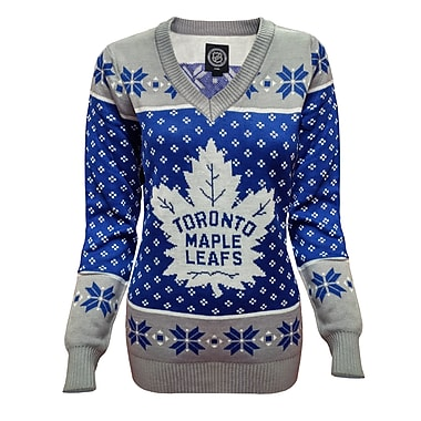 Forever Collectibles Toronto Maple Leafs Ladies' Ugly V-Neck Sweater