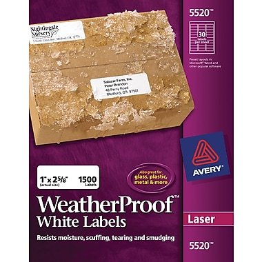 Avery® White WeatherProof™ Laser Mailing Labels