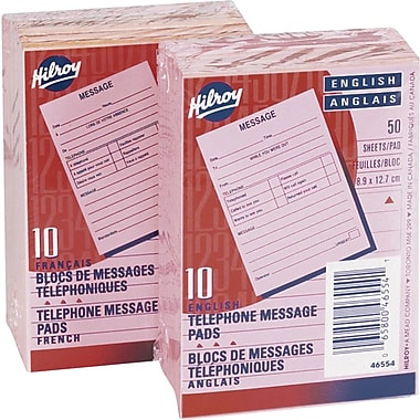 Hilroy Telephone Message Pads, 3-1/2
