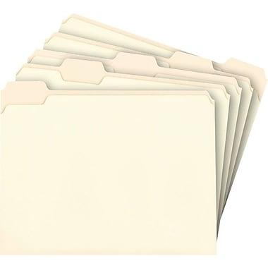 Staples® Top Tab Manila File Folders, 5 Tab, Assorted Position, 100/Box