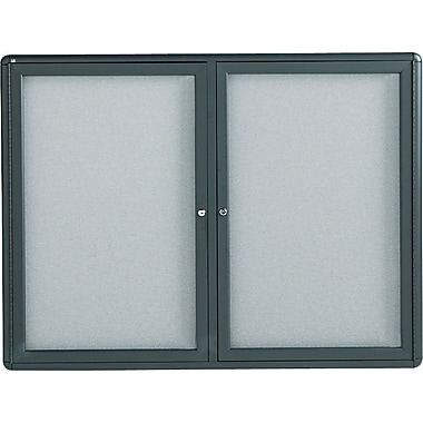 Quartet® Enclosed Fabric Bulletin Boards with Graphite Frame