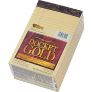 "Docket® Gold Notepad, jr. Legal Rule, Canary, 20 lb, Rigid Back, 50 Sheets/Pad, 12 Pads/Pack, 5"" x 8"""