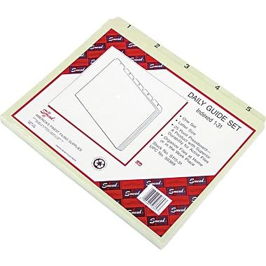 Smead® Pressboard File Guides, Plain, 1/5-Cut Tab (1-31), Gray/Green, 31 per Set (50369)