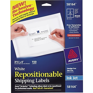 Avery® Repositionable White Inkjet Shipping Labels
