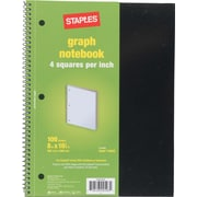 "Staples® Graph Ruled 4x4 Spiral Notebook, 8"" x 10-1/2"""