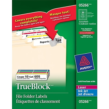 Avery® Permanent TrueBlock Laser/Inkjet Filing Labels, 3-7/16