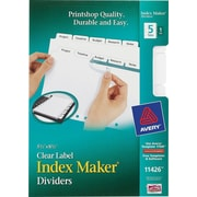 "Avery® Memo-Size Index Maker Tabs for Laser & Inkjet Printers, 5 1/2"" x 8 1/2"""