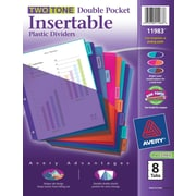 Avery® Two Tone Double Pocket Insertable Plastic Tab Dividers