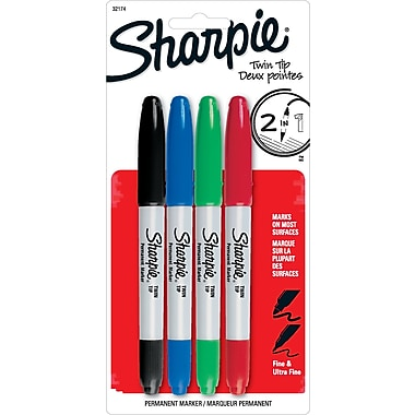 Sharpie® Twin-Tip Fine Point and Ultra Fine Point Markers, Black and Assorted, 4/Packs