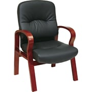 Office Star™  Elegant Wood Finish Series Black Bonded Leather Guest Chairs