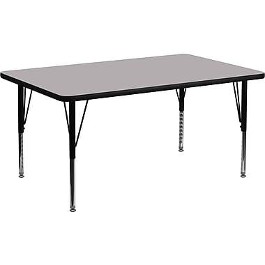 Flash Furniture – Table d'activités rectangle, 24 x 48 po, surface en stratifié thermofusionné, pattes préscolaires ajustables