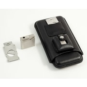 Bey-Berk Leather 3-Cigar Holder with Stainless Steel Cutter and Lighter