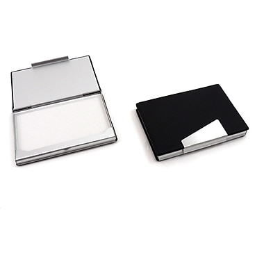 Bey-Berk D259 Leather Business Card Cases With Aluminum Trim