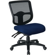 Office Star Dual Function Ergonomic Armless Task Chairs with Navy Fabric Seats