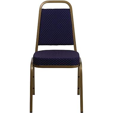 Flash Furniture – Chaise banquet empilable Hercules à dossier trapézoïdal avec cadre au fini doré et tissu marine à motifs