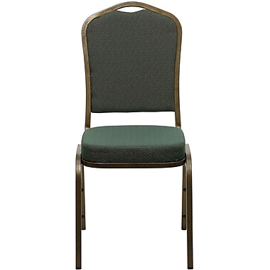 Flash Furniture Hercules Series Crown Back Banquet Stack Chair with Green Pattern Fabric and Gold Vein Frame Finish