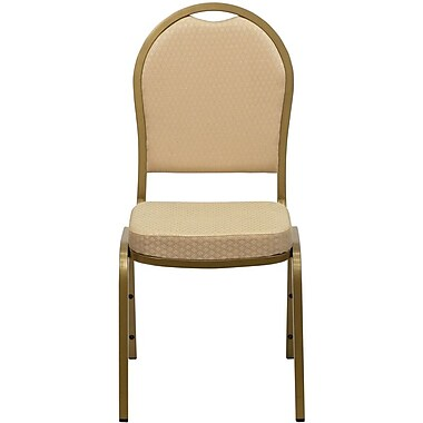 Flash Furniture Hercules Series Dome Back Stacking Banquet Chair with Pattern Fabric and Gold Frame Finish