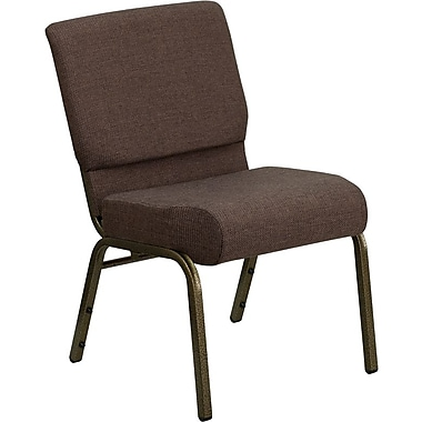 Flash Furniture Hercules Series 21'' Extra Wide Stacking Church Chair with 4'' Thick Seat - Gold Vein Frame, Brown