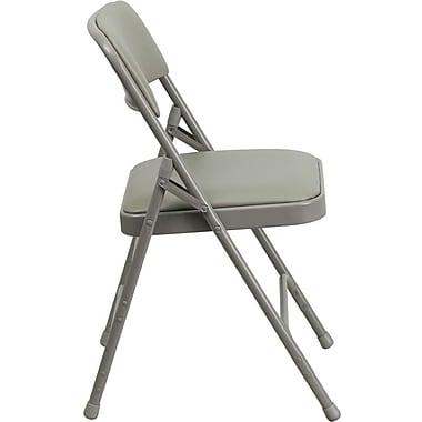 Flash Furniture Hercules Series Curved Triple Braced & Quad Hinged Vinyl Upholstered Metal Folding Chair, Grey