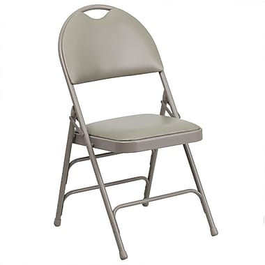 Flash Furniture Hercules Series Extra Large Triple Braced Vinyl Metal Folding Chair with Easy-Carry Handle, Grey