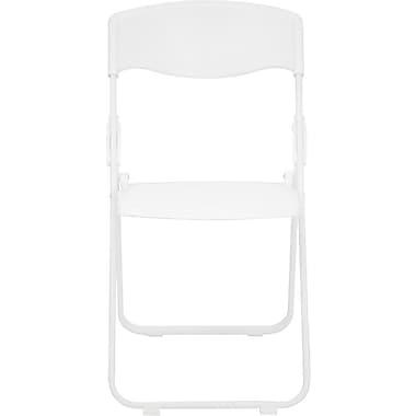 Flash Furniture – Chaise pliante Hercules en plastique résistant d'une capacité de 880 lb, blanc