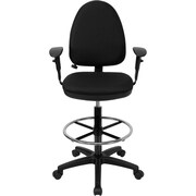 Flash Furniture Mid Back Fabric Multi-Functional Drafting Stools W/Arms & Lumbar Support