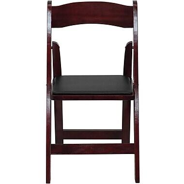 Flash Furniture – Chaise pliante en bois série Hercules avec siège en vinyle rembourré, acajou