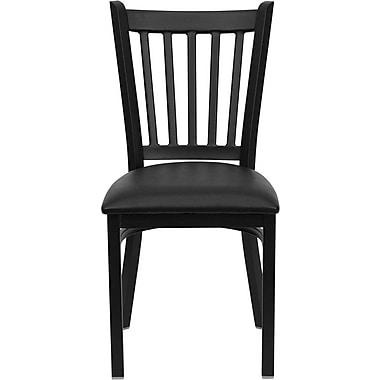 Chaise de restaurant en acier avec dossier à traverses verticales, noir, siège en vinyle noir