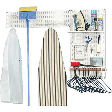 Wall Control Laundry Room & Pantry Organizer Storage White Tool Board and Accessories Kit
