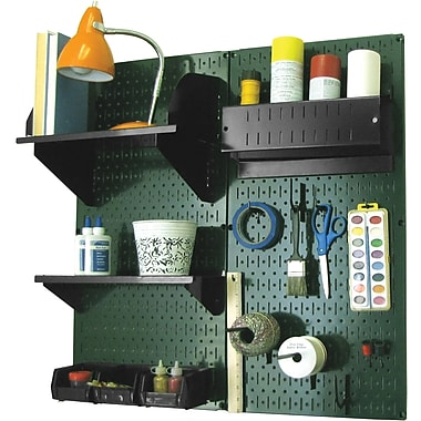 Wall Control Craft Center Pegboard Organizer Green Tool Board and Accessories Kit