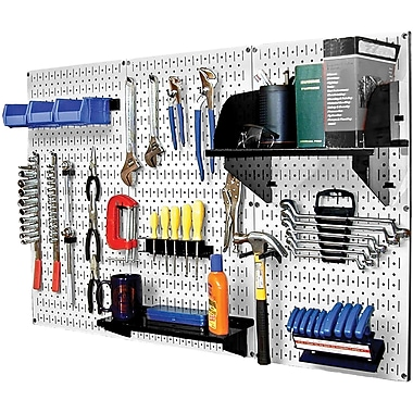 Wall Control 4' Metal Pegboard Standard Workbench White Tool Board and Accessories Kit