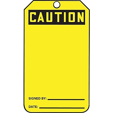 Accuform Signs® Caution Tag, Blank Front & Back, 25/Pack, Yellow