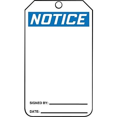 Accuform Signs® Notice Tag, Blank Front & Back, 25/Pack