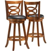 "Monarch Solid Wood 42""H Swivel Barstool, Swirl Back, 2/Pack"
