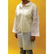 Keystone Disposable Polypropylene Pocketless Snap-Front Lab Coats with Elastic Wrists, White, 30 g, 30/Case