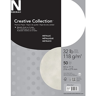 Neenah Creative Collection™ – Papier métallique Premium, 32 lb, 8 1/2 po x 11 po, paq./50 feuilles