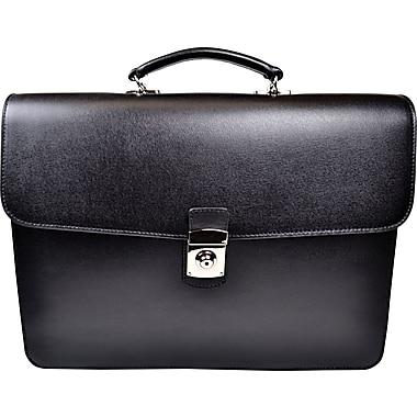 Royce Leather Kensington Single Gusset Briefcase, Black
