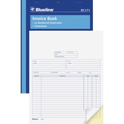 "Blueline® Book Format Invoice Book, Carbonless, Staple Bound, 8-1/2"" x 11"", English"