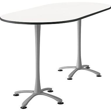Cha Cha Teaming Table Designer White Top Silver Base, Assorted Sizes