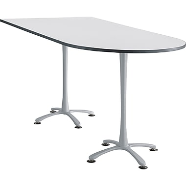 Cha Cha Teaming Table Designer White Peninsula Top Silver Base, Assorted Sizes