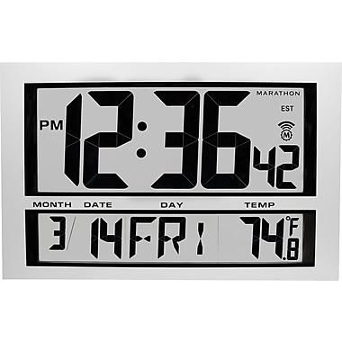 Marathon Jumbo Digital Atomic Wall Clock with Date and Temperature